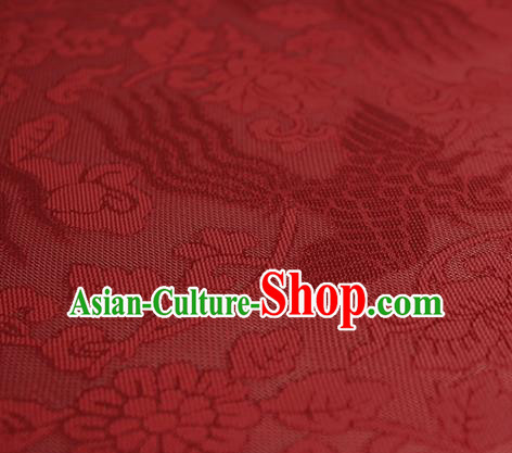 Traditional Chinese Classical Phoenix Flowers Pattern Red Silk Fabric Ancient Hanfu Dress Silk Cloth
