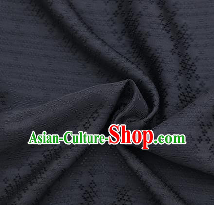 Traditional Chinese Classical Rhombus Pattern Black Silk Fabric Ancient Hanfu Dress Silk Cloth