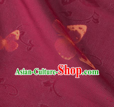 Traditional Chinese Classical Butterfly Pattern Wine Red Silk Fabric Ancient Hanfu Dress Silk Cloth
