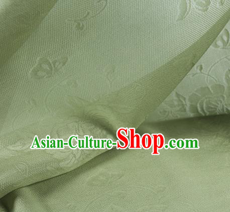 Traditional Chinese Classical Peony Butterfly Pattern Light Green Silk Fabric Ancient Hanfu Dress Silk Cloth