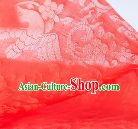 Traditional Chinese Classical Flower Birds Pattern Design Red Silk Fabric Ancient Hanfu Dress Silk Cloth