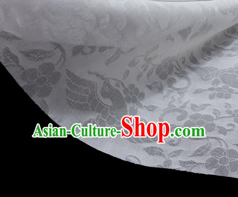 Traditional Chinese Classical Flower Birds Pattern Design White Silk Fabric Ancient Hanfu Dress Silk Cloth