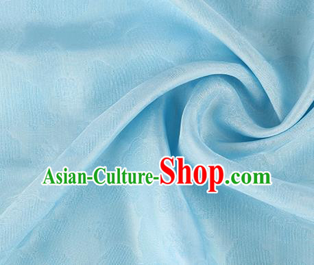 Traditional Chinese Classical Auspicious Cloud Pattern Design Light Blue Silk Fabric Ancient Hanfu Dress Silk Cloth