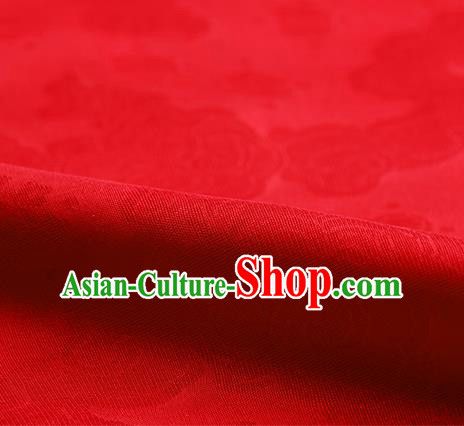 Traditional Chinese Classical Auspicious Cloud Pattern Design Red Silk Fabric Ancient Hanfu Dress Silk Cloth