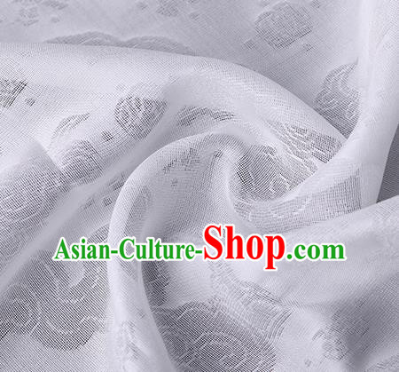 Traditional Chinese Classical Auspicious Cloud Pattern Design White Silk Fabric Ancient Hanfu Dress Silk Cloth