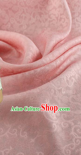 Traditional Chinese Classical Crpress Vine Pattern Design Pink Silk Fabric Ancient Hanfu Dress Silk Cloth