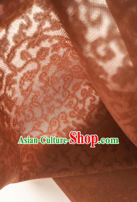 Traditional Chinese Classical Crpress Vine Pattern Design Brown Silk Fabric Ancient Hanfu Dress Silk Cloth