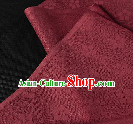 Traditional Chinese Wine Red Silk Fabric Classical Plum Blossom Pattern Silk Cloth