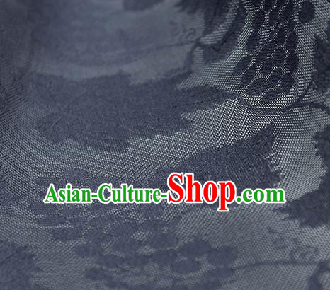 Traditional Chinese Classical Grape Pattern Navy Silk Fabric Ancient Hanfu Silk Cloth