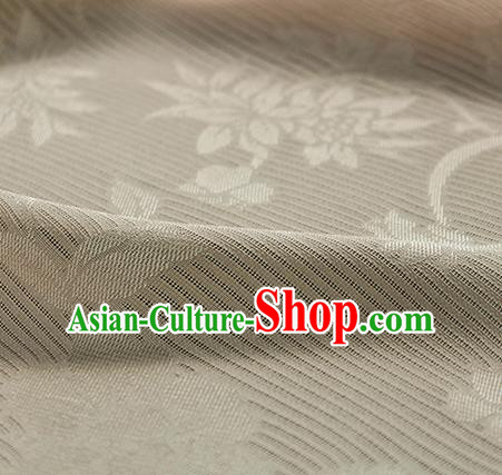 Traditional Chinese Classical Flowers Pattern Beige Silk Fabric Ancient Hanfu Silk Cloth