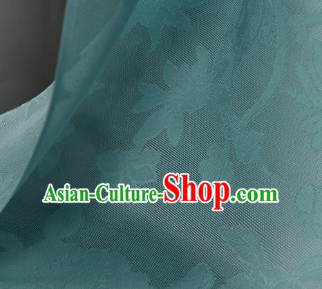 Traditional Chinese Classical Autumn Flowers Pattern Blue Silk Fabric Ancient Hanfu Dress Silk Cloth