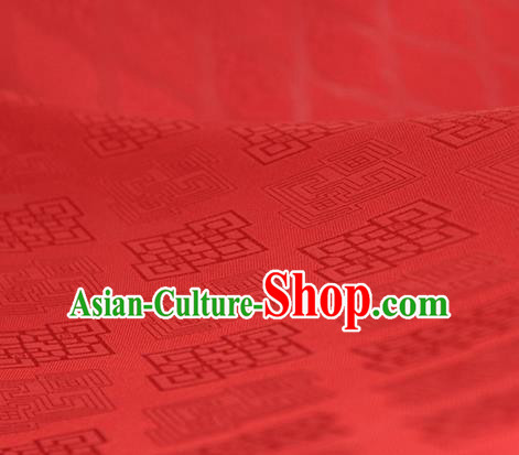 Traditional Chinese Classical Rhombus Pattern Red Silk Fabric Ancient Hanfu Dress Silk Cloth