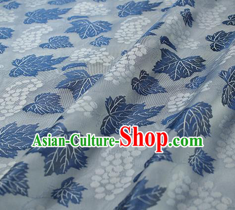 Traditional Chinese Classical Twine Grape Pattern Blue Silk Fabric Ancient Hanfu Dress Silk Cloth