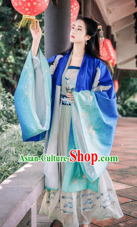 Traditional Chinese Ming Dynasty Royal Princess Replica Costumes Ancient Imperial Concubine Blue Hanfu Dress for Women