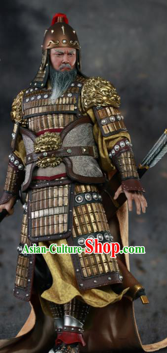 Chinese Ancient Cosplay General Huang Zhong Armor and Helmet Traditional Han Dynasty Supreme Commander Costumes Complete Set for Men
