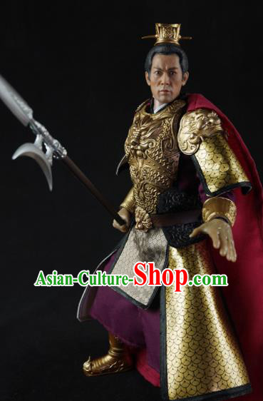 Chinese Ancient Cosplay General Lv Bu Armor and Helmet Traditional Han Dynasty Supreme Commander Costumes Complete Set for Men