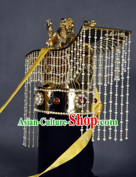 Top Grade Chinese Handmade Ancient Emperor Crown Qin Dynasty Hair Accessories for Men