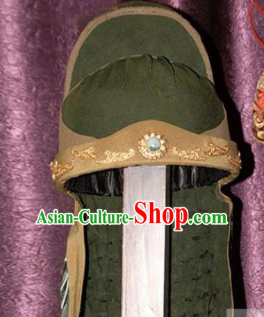 Handmade Chinese Ancient General Guan Yu Helmet Traditional Three Kingdoms Period Hair Accessories for Men