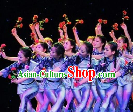 Traditional Chinese Folk Dance Group Dance Costume Fan Dance Stage Show Dress for Women