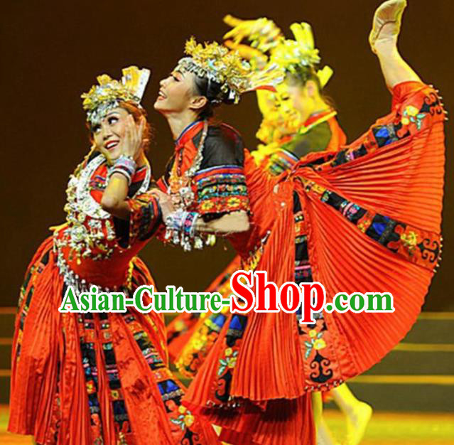 Traditional Chinese Miao Nationality Dance Costume Ethnic Stage Show Red Dress for Women