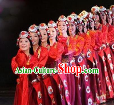 Traditional Chinese Zang Nationality Dance Costume Tibetan Ethnic Stage Show Red Dress for Women