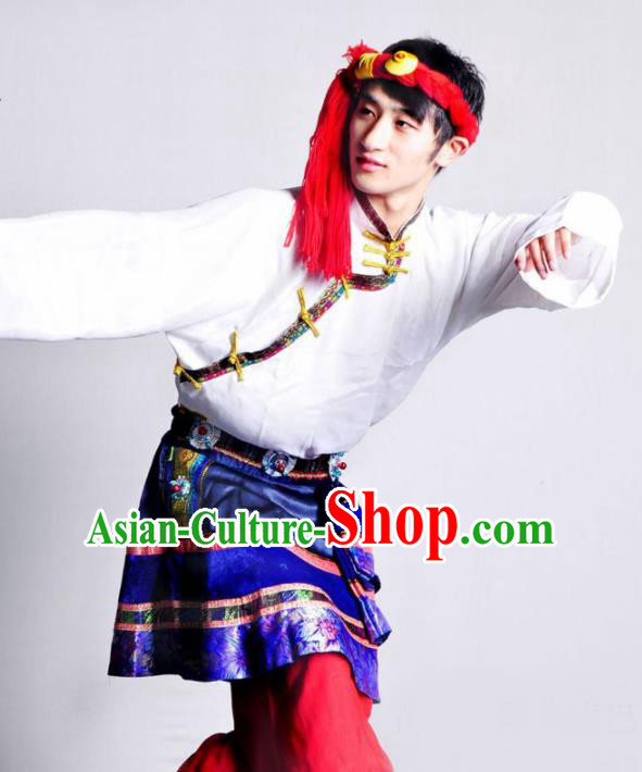 Chinese Traditional Zang Nationality Dance White Costume Tibetan Ethnic Folk Dance Stage Show Clothing for Men