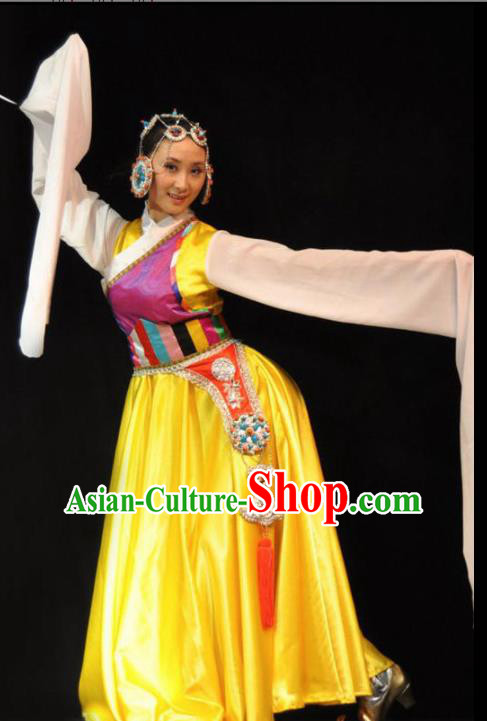Traditional Chinese Zang Nationality Yellow Costume Tibetan Ethnic Dance Stage Show Dress for Women