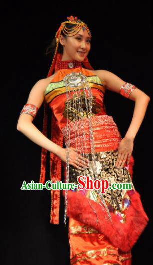 Traditional Chinese Zang Nationality Red Dress Tibetan Ethnic Dance Stage Show Costume for Women