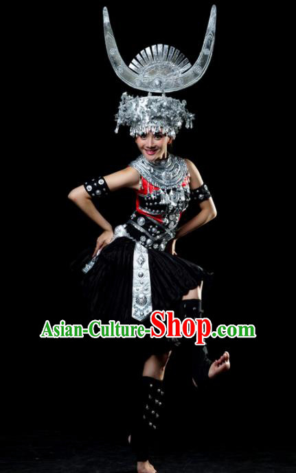 Traditional Chinese Miao Nationality Dance Black Dress Hmong Ethnic Dance Stage Show Costume for Women