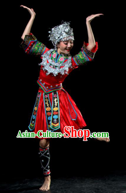 Traditional Chinese Miao Nationality Dance Red Dress Hmong Ethnic Dance Stage Show Costume for Women