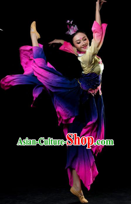 Traditional Chinese Classical Dance Purple Costumes Umbrella Dance Stage Show Dress for Women