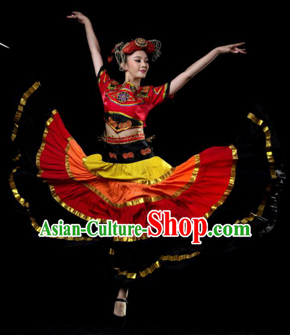 Traditional Chinese Yi Nationality Dance Red Dress Ethnic Dance Stage Show Costume for Women
