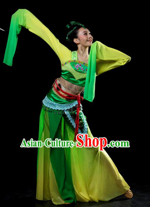 Traditional Chinese Classical Dance Green Costumes Umbrella Dance Stage Show Dress for Women