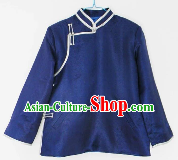 Chinese Traditional Mongol Nationality Costume Mongolian Ethnic Royalblue Jacket for Men