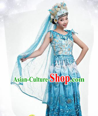 Traditional Chinese Classical Dance Blue Costume Opening Dance Stage Show Dress for Women