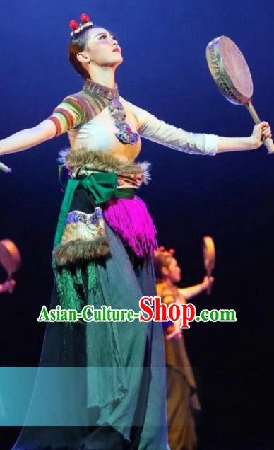 Traditional Chinese Zang Nationality Dance Green Dress Tibetan Ethnic Dance Stage Show Costume for Women