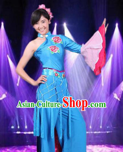 Traditional Chinese Folk Dance Blue Costume Fan Dance Stage Show Dress for Women