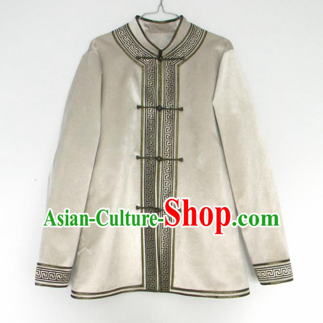 Chinese Traditional Mongol Nationality Winter Costume Mongolian Ethnic Beige Jacket for Men