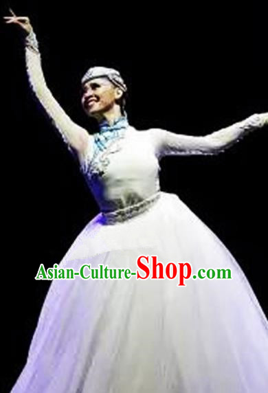 Traditional Chinese Mongol Nationality Dance White Dress Ethnic Mongolian Stage Show Costume for Women