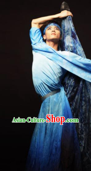 Traditional Chinese Classical Dance Male Costumes Group Dance Competition Stage Show Clothing for Men