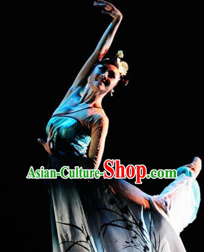 Traditional Chinese Classical Dance Competition Costumes Orchid Dance Stage Show Dress for Women