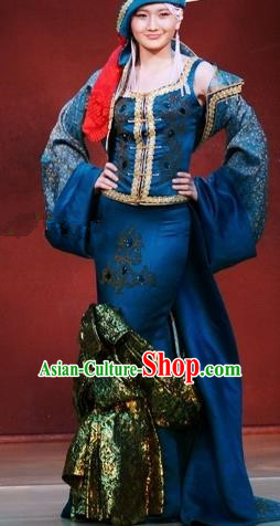 Traditional Chinese Mongol Nationality Blue Costume Mongolian Ethnic Stage Show Dress for Women
