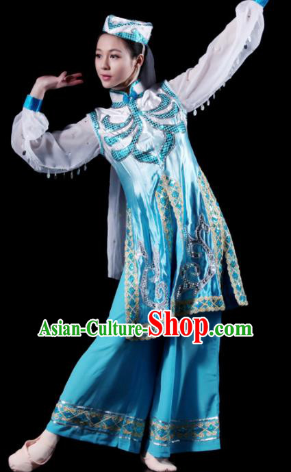 Traditional Chinese Hui Nationality Blue Costume Ethnic Dance Stage Show Dress for Women