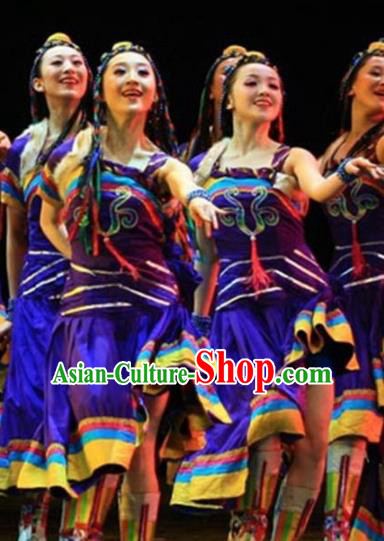Traditional Chinese Zang Nationality Dance Costume Ethnic Stage Show Purple Dress for Women