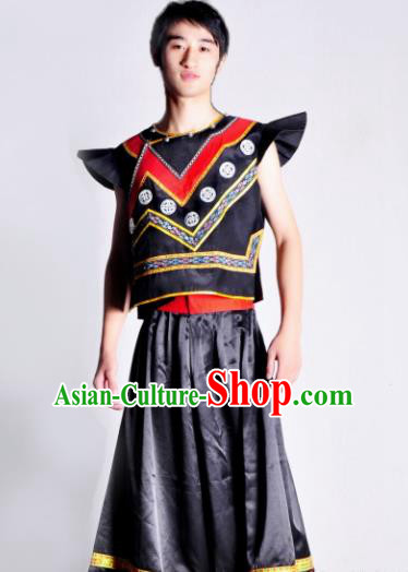 Chinese Traditional Yi Nationality Costume Ethnic Dance Stage Show Clothing for Men