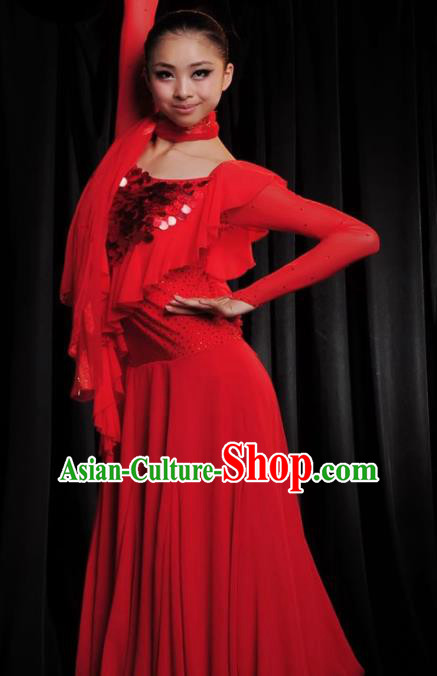 Professional Modern Dance Costume Ballroom Dance Waltz Stage Show Red Dress for Women