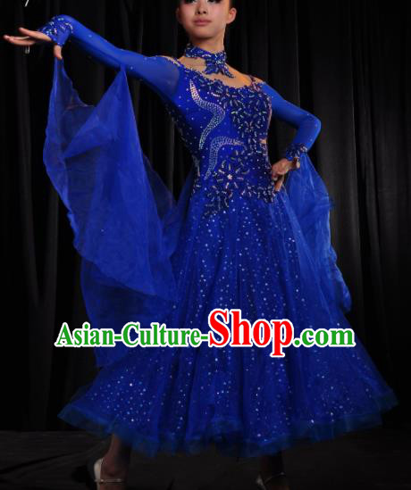 Professional Modern Dance Costume Ballroom Dance Waltz Stage Show Royalblue Dress for Women