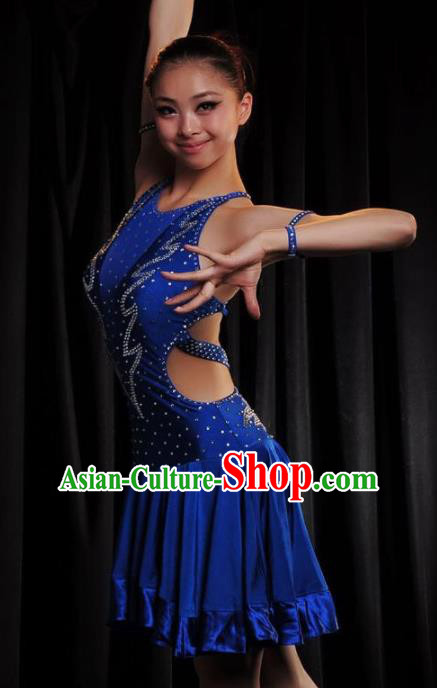 Professional Modern Dance Costume Ballroom Dance Latin Stage Show Royalblue Dress for Women