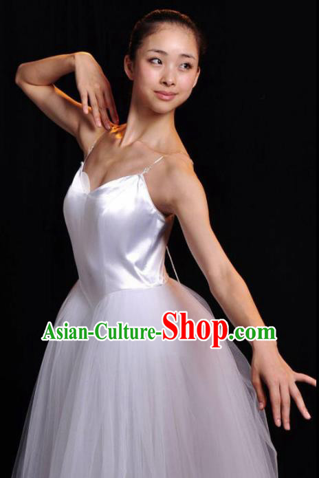 Professional Modern Dance Costume Ballroom Dance Ballet Stage Show White Veil Dress for Women