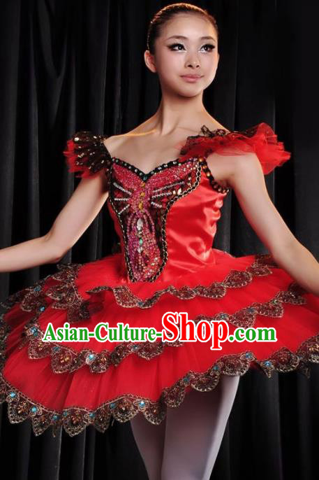 Professional Modern Dance Costume Ballroom Dance Ballet Stage Show Red Dress for Women